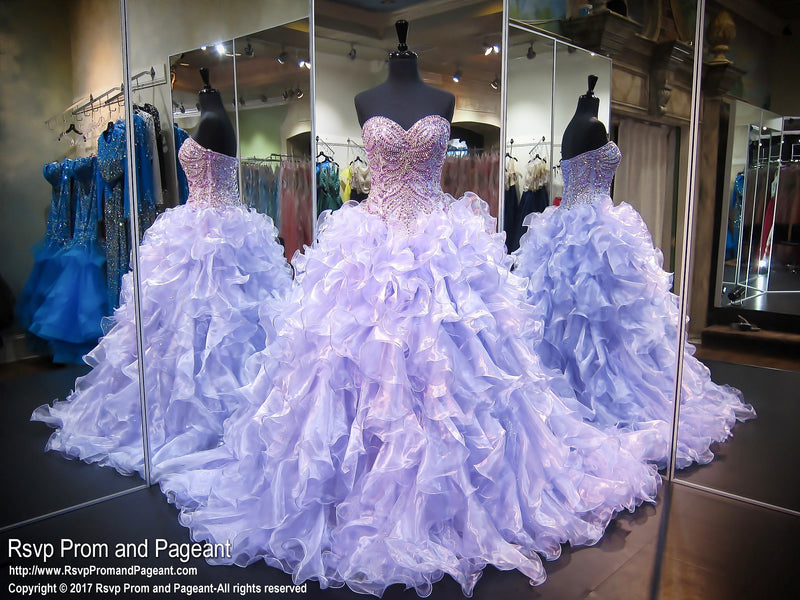Lilac Beaded Sweetheart Quinceanera Ball Gown - Rsvp Prom and Pageant - Best Prom Store in the USA\