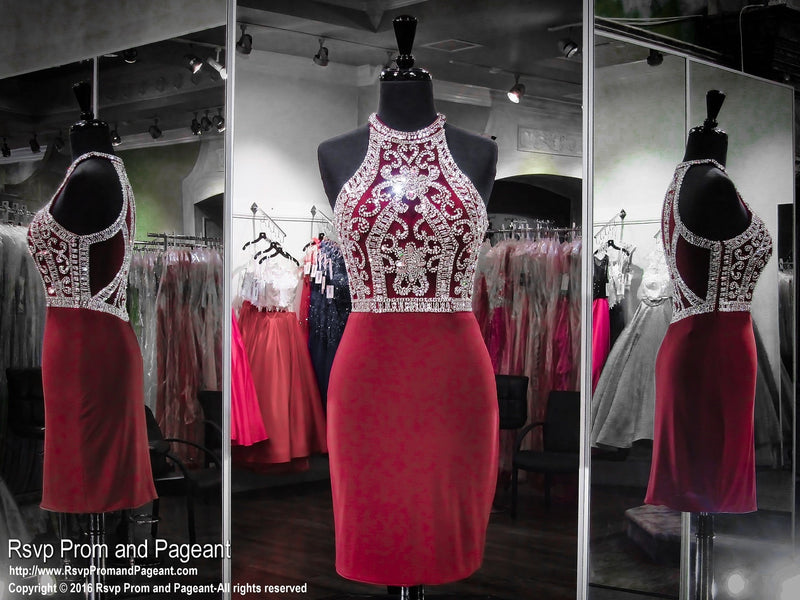 Marsala High Neckline Short Homecoming Dress / Rsvp Prom and Pageant, Atlanta, GA / Best Prom Store in Atlanta / #Promheaven