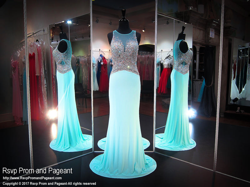 Mint Illusion Beaded Bodice High Neck Prom Dress - Rsvp BP - Long Gown - Rsvp Prom and Pageant Atlanta, Georgia GA - 1