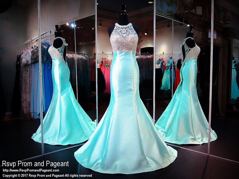 Mint High Neckline Beaded Open Back Mermaid Prom Dress - Rsvp BP - Long Gown - Rsvp Prom and Pageant Atlanta, Georgia GA - 1