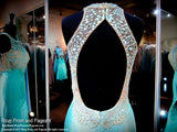 Mint High Neckline Beaded Open Back Mermaid Prom Dress - Rsvp BP - Long Gown - Rsvp Prom and Pageant Atlanta, Georgia GA - 4