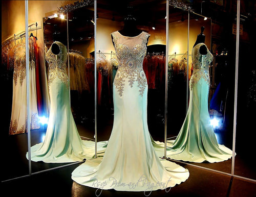 Mint-Gold Formfitting Evening Gown-Train-Illusion Bodice-Illusion Back / Rsvp Prom and Pageant, Atlanta, GA / Best Prom Store in Atlanta / #Promheaven