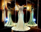Mint-Gold Formfitting Evening Gown-Train-Illusion Bodice-Illusion Back - Rsvp Prom and Pageant, Atlanta, GA