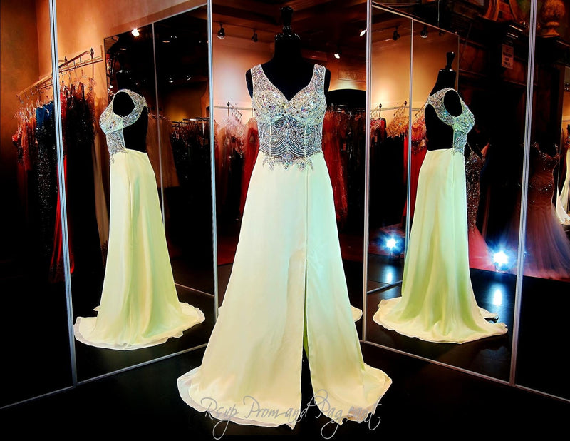 Mint A-Line Prom Dress-Sheer Midrift Sweetheart Bodice-Straps-Open Back-Slit / Rsvp Prom and Pageant, Atlanta, GA / Best Prom Store in Atlanta / #Promheaven