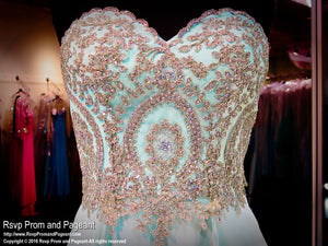 Mint Chiffon A Line Gown-Sweetheart-Strapless / Rsvp Prom and Pageant, Atlanta, GA / Best Prom Store in Atlanta / #Promheaven