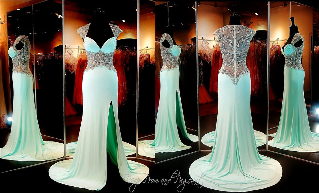 Mint Cap Sleeved Sweetheart Neckline Prom Dress / Rsvp Prom and ...
