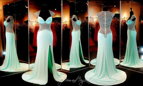 Mint Jersey Evening Gown-Beaded Cap Sleeves-Sweetheart Bodice-Beaded Illusion Back-Slit / Rsvp Prom and Pageant, Atlanta, GA / Best Prom Store in Atlanta / #Promheaven
