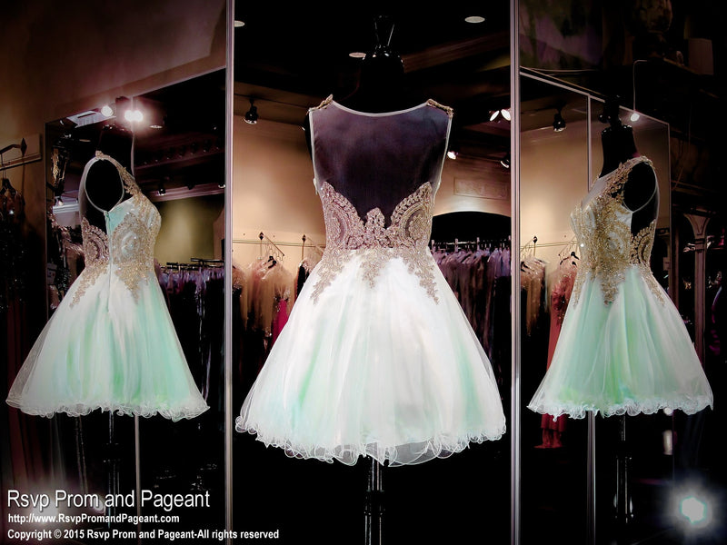 Mint Gold Embellishment Homecoming Dress / Rsvp Prom and Pageant, Atlanta, GA / Best Prom Store in Atlanta / #Promheaven