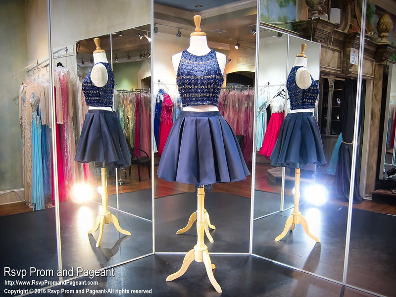 Navy Two-piece High Neckline Short Homecoming Dress - Rsvp DJ - Short Dress - Rsvp Prom and Pageant - 1