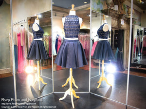 Navy Two-piece High Neckline Short Homecoming Dress - Rsvp DJ - Short Dress - Rsvp Prom and Pageant - 4