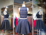 Navy Two-piece High Neckline Short Homecoming Dress - Rsvp DJ - Short Dress - Rsvp Prom and Pageant - 2