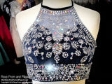 Navy Beaded Halter Top Formfitting Two Piece Homecoming Dress / Rsvp Prom and Pageant, Atlanta, GA / Best Prom Store in Atlanta / #Promheaven