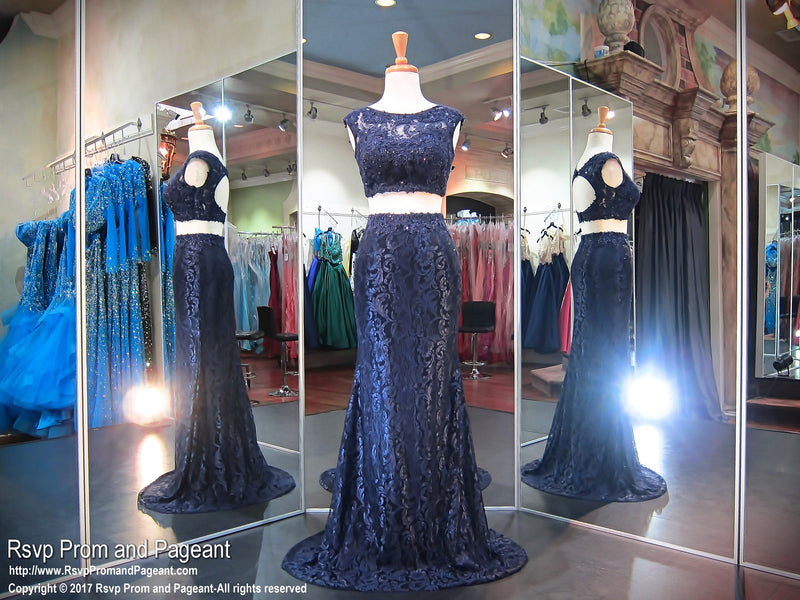 High Neckline Navy Lace Two Piece - Rsvp Prom and Pageant- Best Prom Store USA