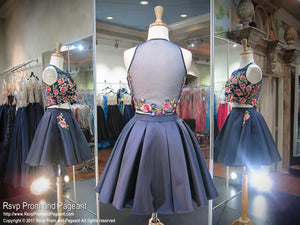 Navy Floral Two Piece Pockets Short Homecoming Dress / Rsvp Prom and Pageant / Best Prom Store