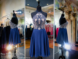 Navy Beaded Halter Neckline Short Homecoming Dress / Rsvp Prom and Pageant / Best Prom Store
