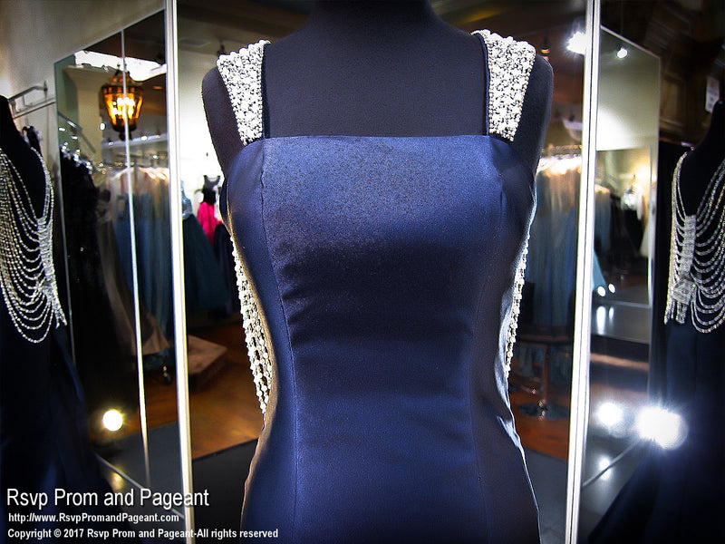 Navy Mermaid Open Back Prom Dress - Rsvp EC - Long Gown - Rsvp Prom and Pageant Atlanta, Georgia GA - 4