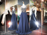 Navy High Neckline Chiffon Prom Dress - Rsvp EC - Long Gown - Rsvp Prom and Pageant Atlanta, Georgia GA - 1 - BEST PROM STORE