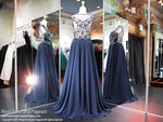 Navy High Neckline Chiffon Prom Dress - Rsvp EC - Long Gown - Rsvp Prom and Pageant Atlanta, Georgia GA - 3 - BEST PROM STORE