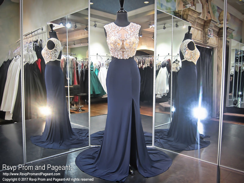 Navy High Neck Sexy Jersey Prom Dress - Rsvp Prom and Pageant - Best Prom Store USA