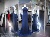 Navy High Neck Form FItting Prom Dress - Rsvp JC - Long Gown - Rsvp Prom and Pageant Atlanta, Georgia GA - 1 - BEST PROM STORE