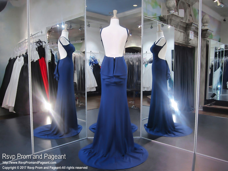 Navy High Neck Form FItting Prom Dress - Rsvp JC - Long Gown - Rsvp Prom and Pageant Atlanta, Georgia GA - 3 - BEST PROM STORE