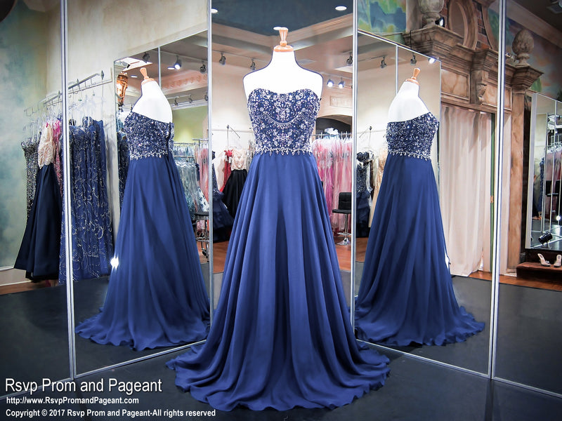 PLUS Size Navy Strapless Chiffon Prom Dress 117RA078260 / Rsvp Prom and Pageant / Best prom Store / #Promheaven