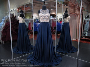 Navy High Neckline Open Back Prom Dress 118CLAR034650 / Rsvp Prom and Pageant / Best Prom Store in Atlanta / #Promheaven