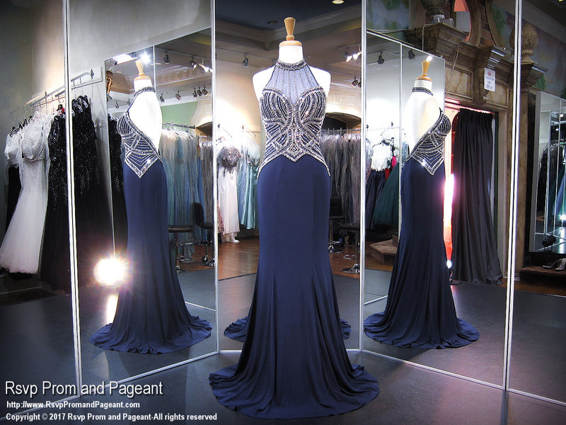 Navy/Gunmetal Beaded High Neckline Jersey Prom Dress - Rsvp EC - Long Gown - Rsvp Prom and Pageant Atlanta, Georgia GA - 2