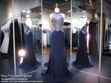 Navy/Gunmetal Beaded High Neckline Jersey Prom Dress - Rsvp EC - Long Gown - Rsvp Prom and Pageant Atlanta, Georgia GA - 1