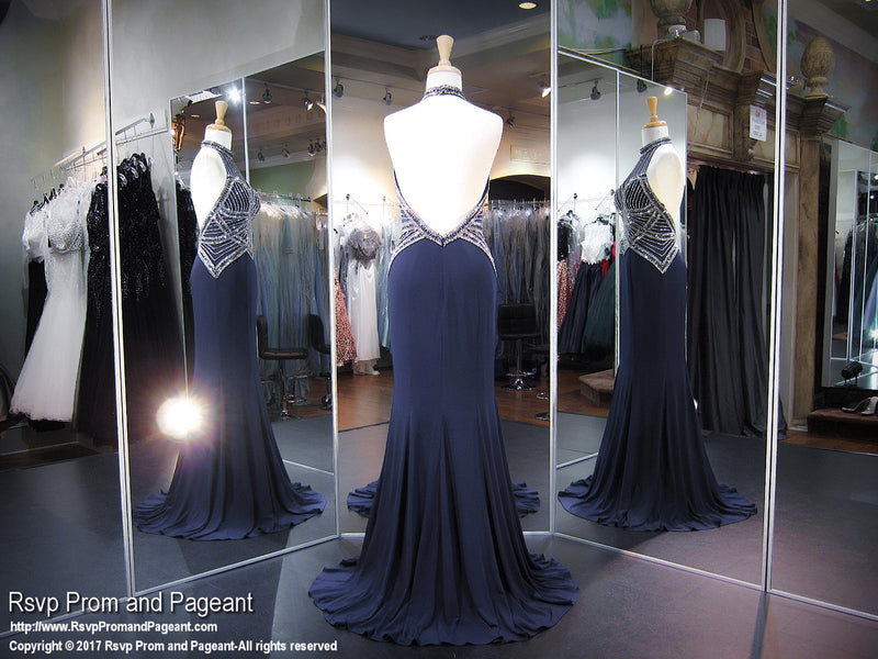 Navy/Gunmetal Beaded High Neckline Jersey Prom Dress - Rsvp EC - Long Gown - Rsvp Prom and Pageant Atlanta, Georgia GA - 3