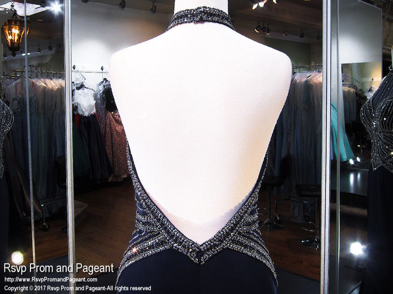 Navy/Gunmetal Beaded High Neckline Jersey Prom Dress - Rsvp EC - Long Gown - Rsvp Prom and Pageant Atlanta, Georgia GA - 5