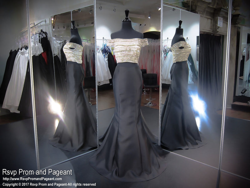 Nude/Black Cap Sleeve Two Piece Prom Dress - Rsvp JC - Long Gown - Rsvp Prom and Pageant Atlanta, Georgia GA - 1 - BEST PROM STORE
