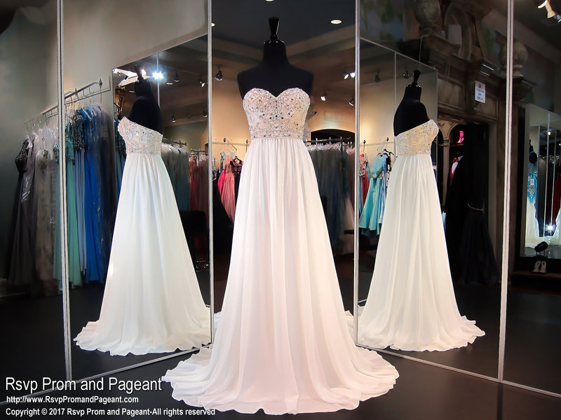 Nude/White Chiffon Flowing Prom Gown with Nude Beaded Strapless Bodice - Rsvp EC - Long Gown - Rsvp Prom and Pageant Atlanta, Georgia GA - 1