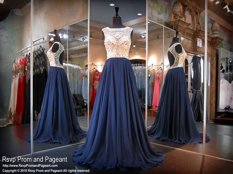 Navy Chiffon Flowing Prom Dress-High Beaded Neckline-Open Back / Rsvp Prom and Pageant, Atlanta, GA / Best Prom Store in Atlanta / #Promheaven