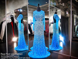 Turquoise Blinged Out Iridescent Stone Sleeved Prom Dress - Rsvp JC - Long Gown - Rsvp Prom and Pageant Atlanta, Georgia GA - 1