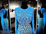 Turquoise Blinged Out Iridescent Stone Sleeved Prom Dress - Rsvp JC - Long Gown - Rsvp Prom and Pageant Atlanta, Georgia GA - 3
