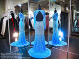 Turquoise Blinged Out Iridescent Stone Sleeved Prom Dress - Rsvp JC - Long Gown - Rsvp Prom and Pageant Atlanta, Georgia GA - 2