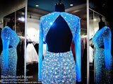 Turquoise Blinged Out Iridescent Stone Sleeved Prom Dress - Rsvp JC - Long Gown - Rsvp Prom and Pageant Atlanta, Georgia GA - 4