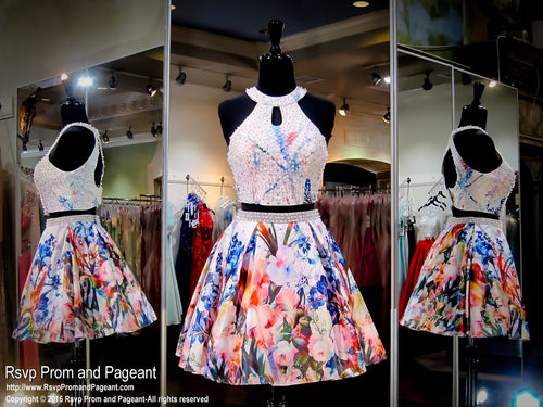 Off White Two-Piece Floral Print Open Back Short Homecoming Dress / Rsvp Prom and Pageant, Atlanta, GA / Best Prom Store in Atlanta / #Promheaven