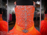Orange Girl's Pageant Dress Full Skirt Beaded Bodice - Rsvp Prom and Pageant - Best Pageant store in the USA