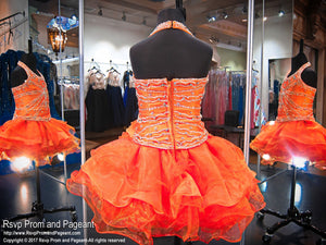 Orange Jeweled Halter Ruffled Cupcake Pageant Dress - Rsvp Prom and Pageant - Best Prom and Pageant Store in the USA