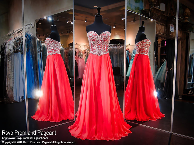 Persimmon Strapless Sweetheart Chiffon Prom Dress / Rsvp Prom and Pageant, Atlanta, GA / Best Prom Store in Atlanta / #Promheaven