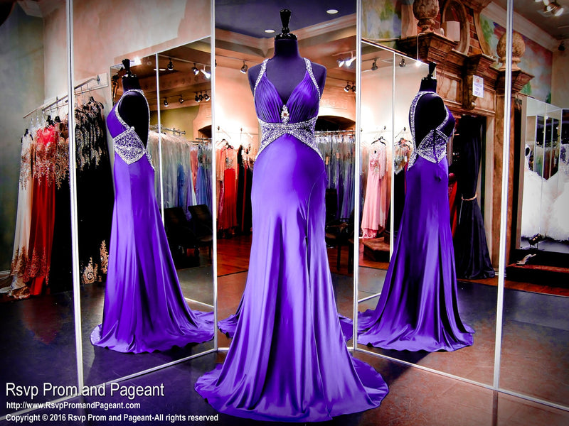 Purple Deep Neck Beaded Prom Dress - Rsvp JC - Long Gown - Rsvp Prom and Pageant Atlanta, Georgia GA - 1