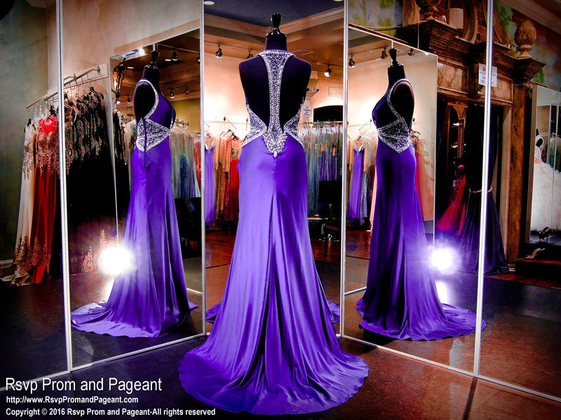 Purple Deep Neck Beaded Prom Dress - Rsvp JC - Long Gown - Rsvp Prom and Pageant Atlanta, Georgia GA - 3