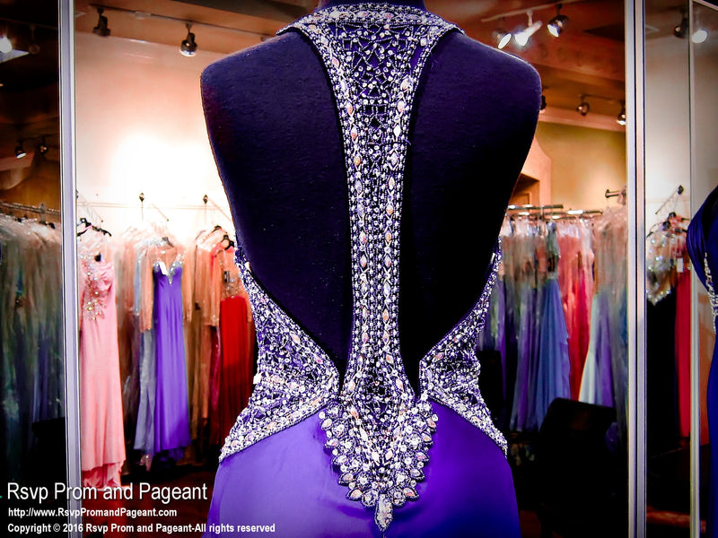 Purple Deep Neck Beaded Prom Dress - Rsvp JC - Long Gown - Rsvp Prom and Pageant Atlanta, Georgia GA - 4