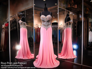 Pink Sweetheart Jersey Prom Dress / Rsvp Prom and Pageant, Atlanta, GA / Best Prom Store in Atlanta / #Promheaven