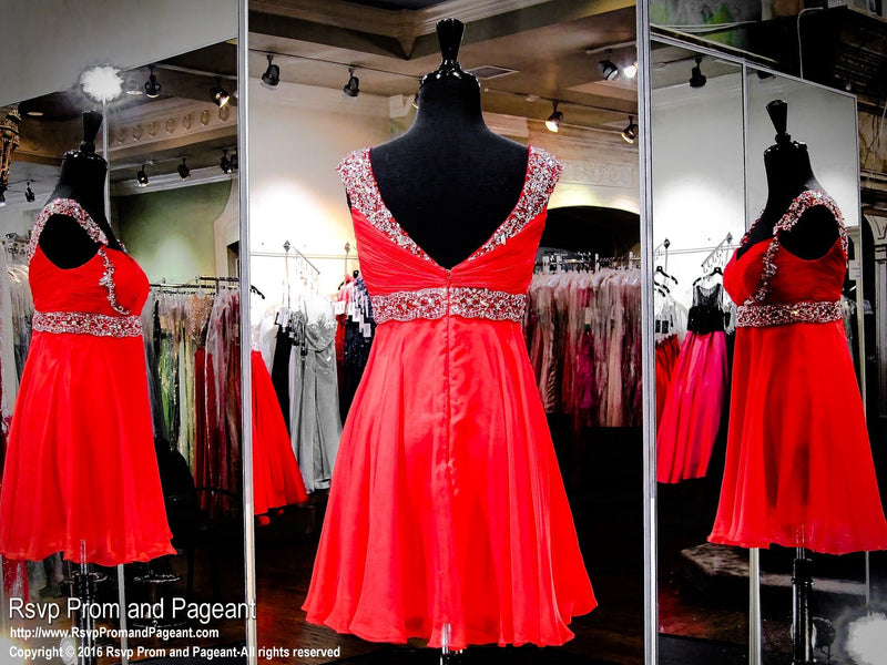 Red Chiffon Sweetheart Homecoming Dress (SALE) - Rsvp DJ - Short Dress - Rsvp Prom and Pageant Atlanta, Georgia GA - 3
