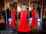 Red High Neckline Fitted Prom Dress / Rsvp Prom and Pageant, Atlanta, GA / Best Prom Store in Atlanta / #Promheaven
