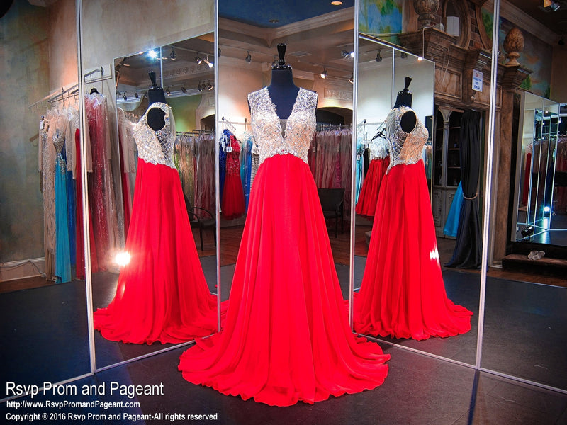 Valentine V Neck Sweep Train Prom Dress - Rsvp BP - Long Gown - Rsvp Prom and Pageant Atlanta, Georgia GA - 1