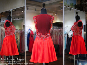 Red High Neckline Chiffon Short Homecoming Dress / Rsvp Prom and Pageant, Atlanta, GA / Best Prom Store in Atlanta / #Promheaven